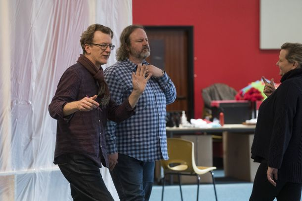 Michael Barker-Caven and Gwyn Hughes Jones in rehearsal for Aida
